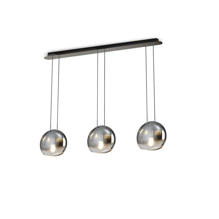 Suspension 3 lampes en ligne Lens - Mantra Gris