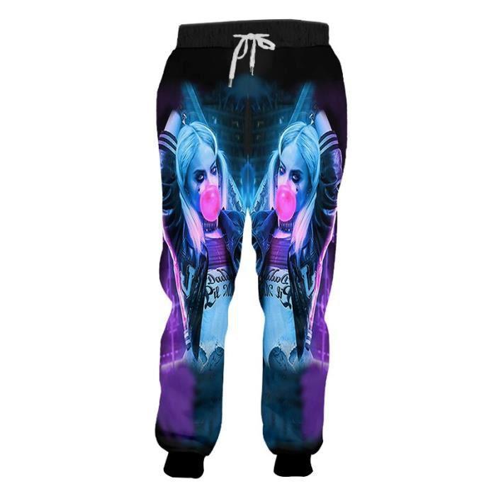 automne homme pantalons de survêtement nouveau élastique taille pantalon 3D imprimé Clown et dinosaure Hip Hop grande - Type Gris