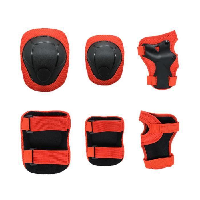 Équipement de protection pour vélo pour enfants, support de poignet + support de coude + support de genou rouge S