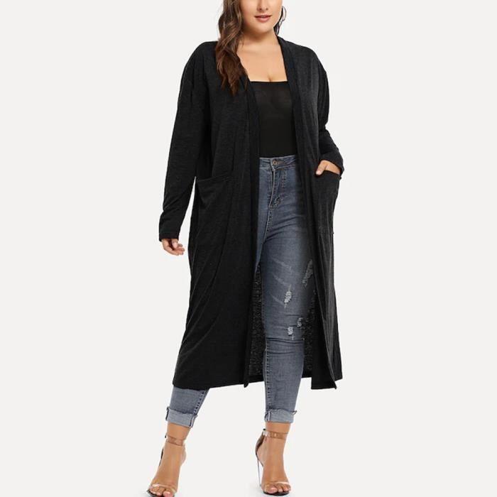 Cardigan long à manches longues en cascade asymétrique à manches longues pour femmes