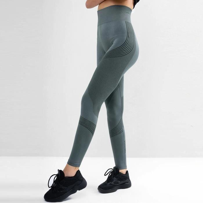 Legging Taille Haute Imprimé Pour Femme Fitness Sports Running Yoga Pantalon De Sport Gris
