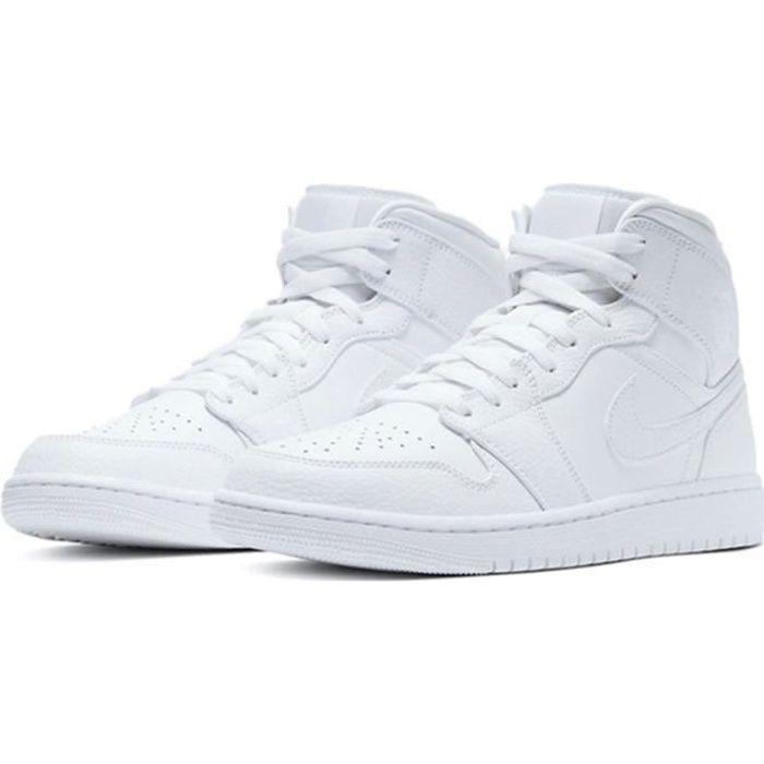 Basket Air Jordan 1 Mid -White- Chaussure de Sport AJ 1 Pas Cher pour Homme Femme Blanc
