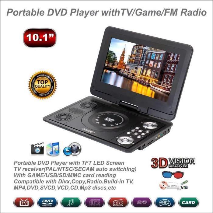Lecteur DVD CD voiture 13.9 pouces écran pivotant Portable extérieur LCD HD lecteur DVD USB Home TV jeux lecteurs TV réception 3D le