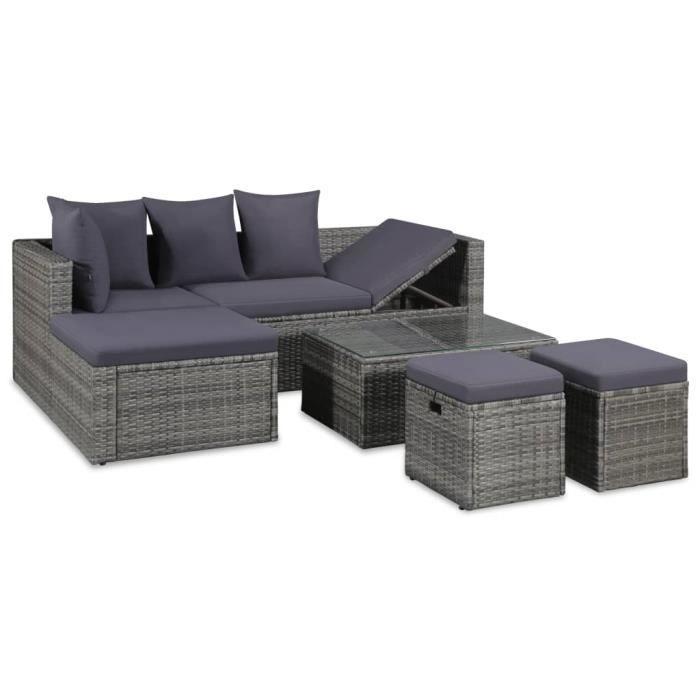 Luxueux Magnifique Moderne-Mobilier à dîner-Salon jardin 4 pcs avec coussins Résine tressée Gris