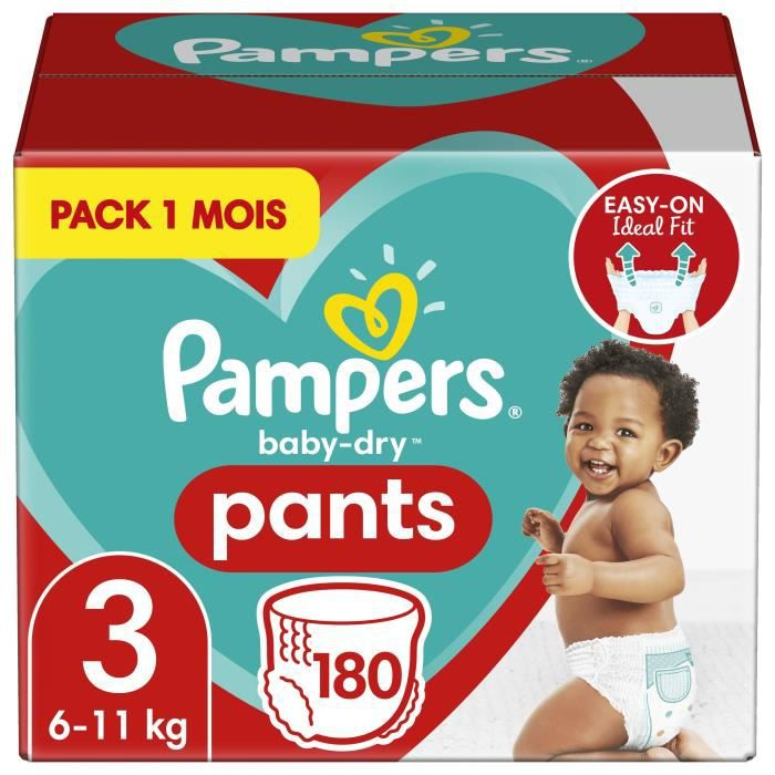 Pampers Baby-Dry Pants Taille 3, 180 Couches-Culottes - Pack 1 Mois