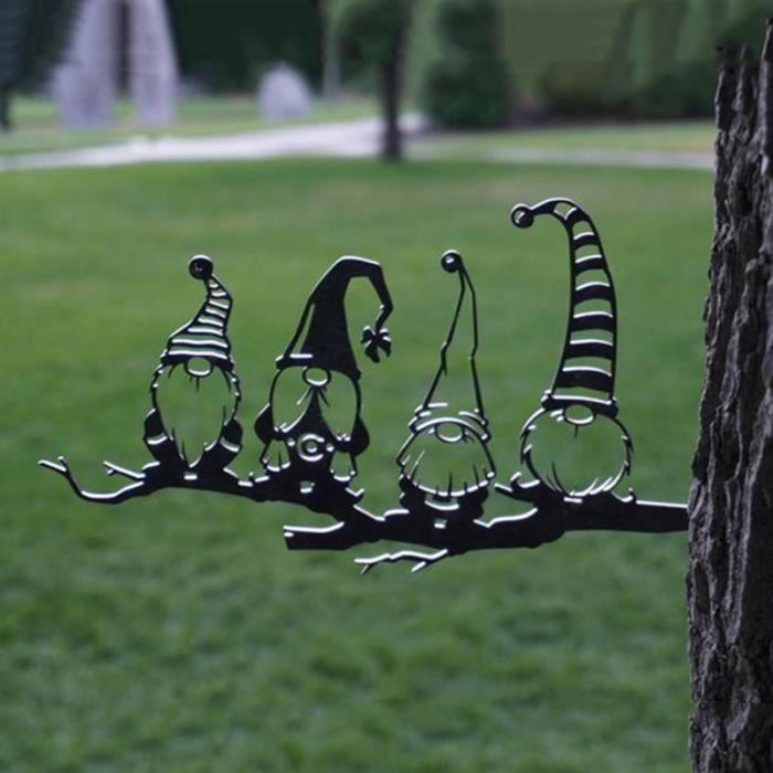 1 pc décoration de gnomes de branche en acier mignon évidé statue de gnomes de jardin en acier