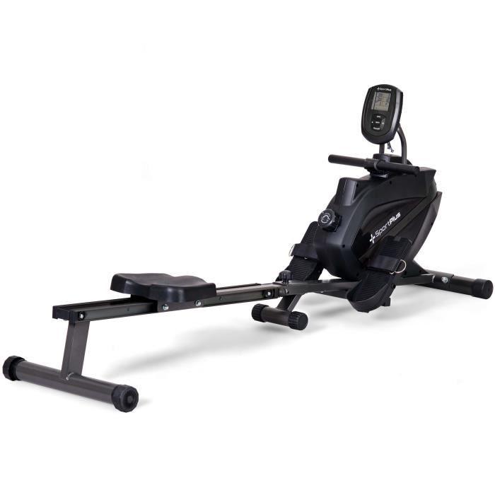 Rameur Pliable - SportPlus -SP-MR-008-BB, Système de freinage magnétique , 8 niveaux de résistance, Silencieux Noir