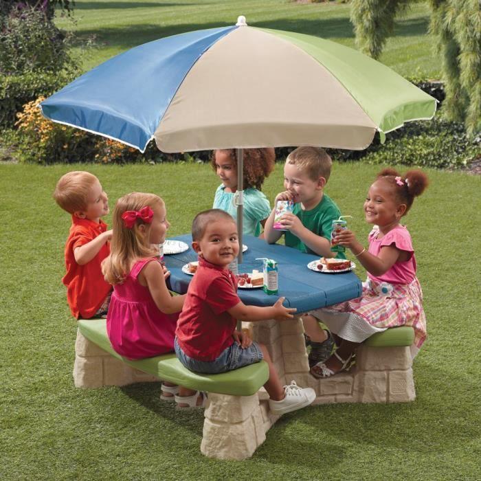 STEP2 Table picnic avec parasol haut - socle beige