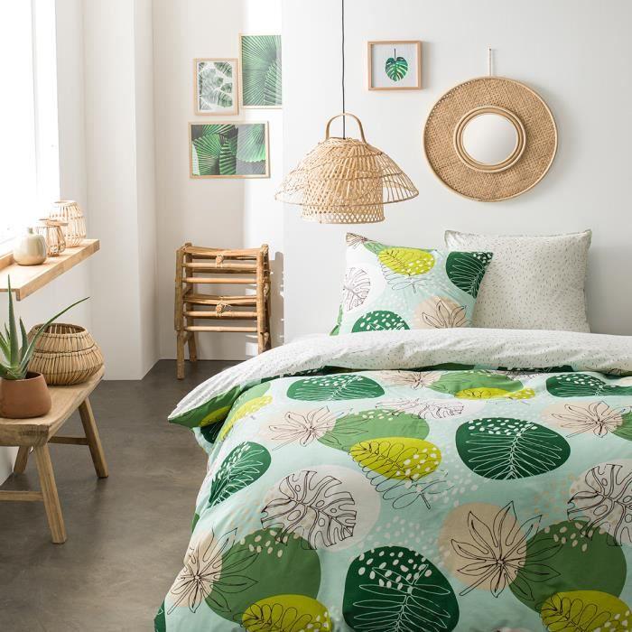 Parure de lit 2 personnes 220X240 Coton imprime vert Floral SUNSHINE 3.43