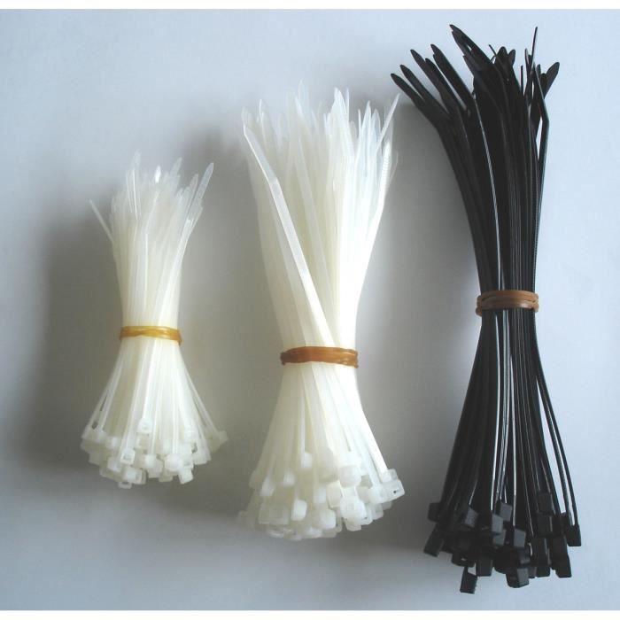 Lot de 250 colliers de câblage mix te - 100x 2,5x 100mm + 100x 3,5x 140mm + 50x 4,5x 180mm