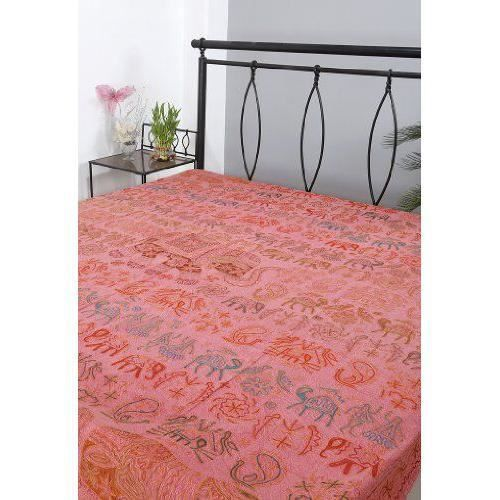 desinger broderie travail double taille coton bed sheet achat vente jet e de lit boutis. Black Bedroom Furniture Sets. Home Design Ideas
