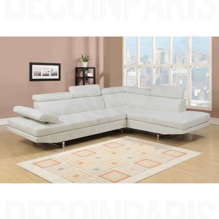 canap d 39 angle en simili cuir blanc rubic achat vente canap sofa divan cdiscount. Black Bedroom Furniture Sets. Home Design Ideas