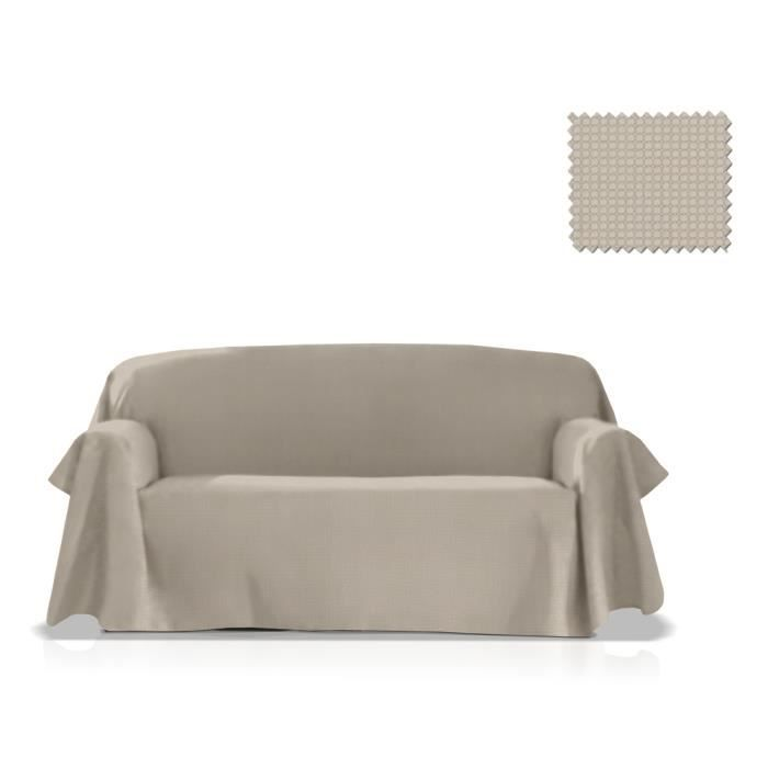Jet multi usage gea taille 235x270 cm couleur beige for Jete de canape lin