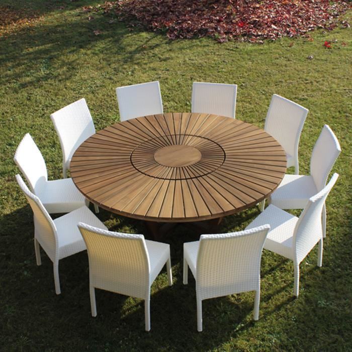 table de jardin ronde en bois de teck real table achat vente table de jardin table de. Black Bedroom Furniture Sets. Home Design Ideas