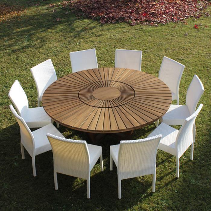 Table de jardin ronde en bois de teck Real Table. - Achat ...