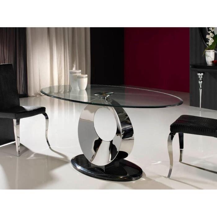 Table design de salle a manger ovale en verre, acier et ...