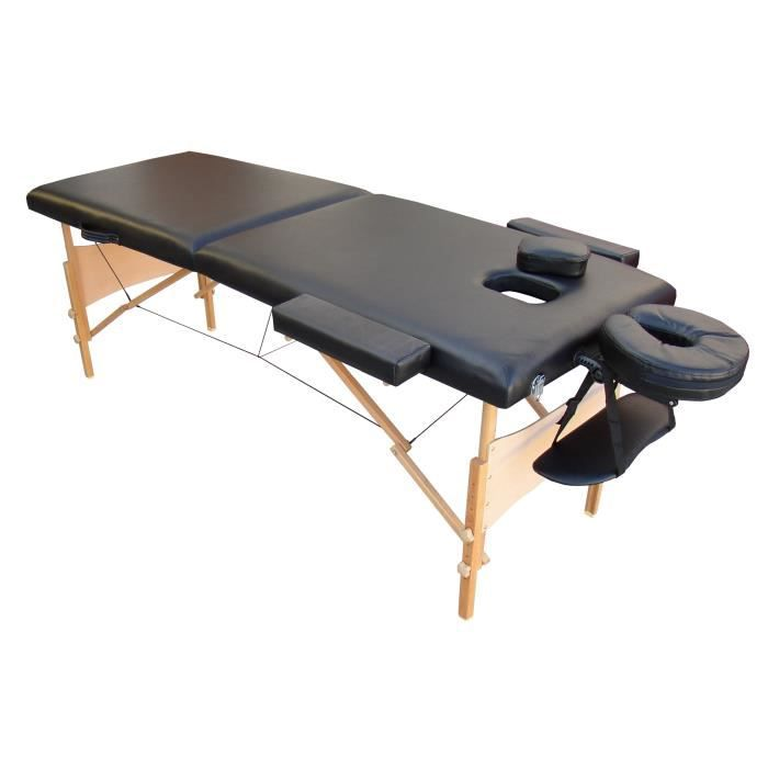 W4k table de massage noire pliante portable bois achat vente table de mas - Table massage pliable ...