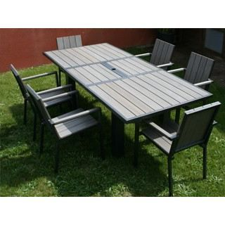 table de jardin en aluminium et composite clair achat vente salon de jardin table de jardin. Black Bedroom Furniture Sets. Home Design Ideas