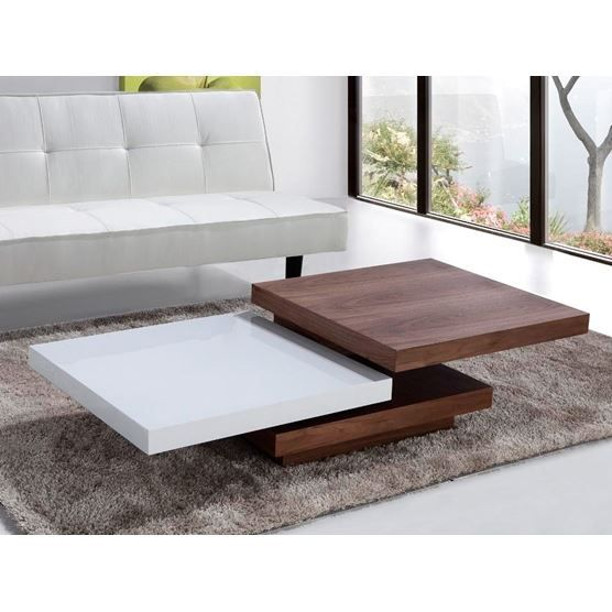 Table Basse Moderne Blanche Noisette Style Con Achat