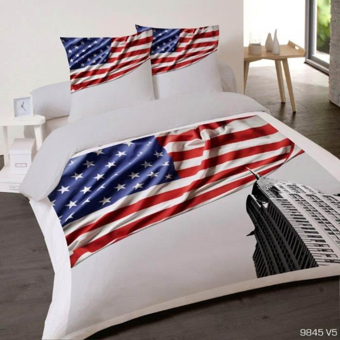 housse de couette us flag avec 2 taies assorties pour lit 2 personnes 100 coton achat. Black Bedroom Furniture Sets. Home Design Ideas