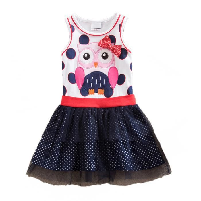 VIKITA Robe Enfant Broderie Appliqu/ée Animal Coton T-Shirt Jerseyrobe Enfant Fille 1-8 Ans