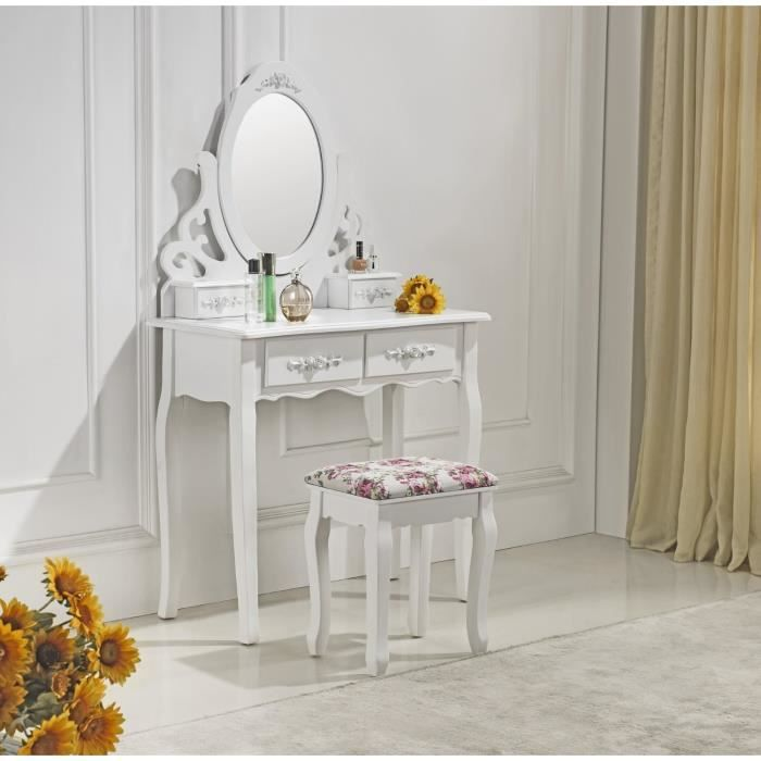 coiffeuse blanche avec miroir et tabouret 41 achat. Black Bedroom Furniture Sets. Home Design Ideas