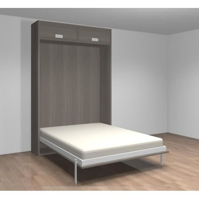 lit relevable avec tablette teo 140x190 gris achat vente lit escamotable lit relevable avec. Black Bedroom Furniture Sets. Home Design Ideas