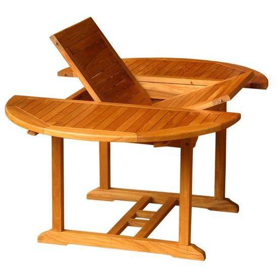 Table ronde en teck avec rallonge 120/180 cm - Achat / Vente ...