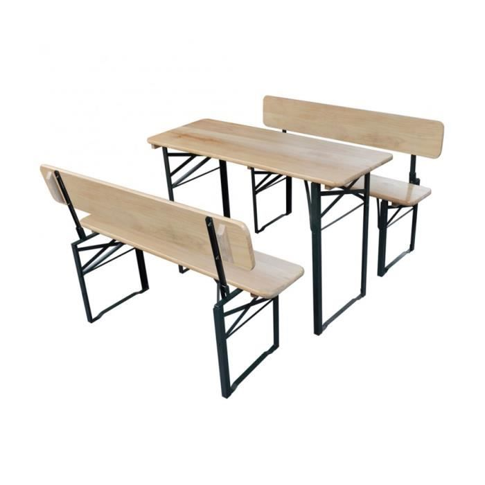 superbe table de brasserie pliante et 2 bancs avec. Black Bedroom Furniture Sets. Home Design Ideas