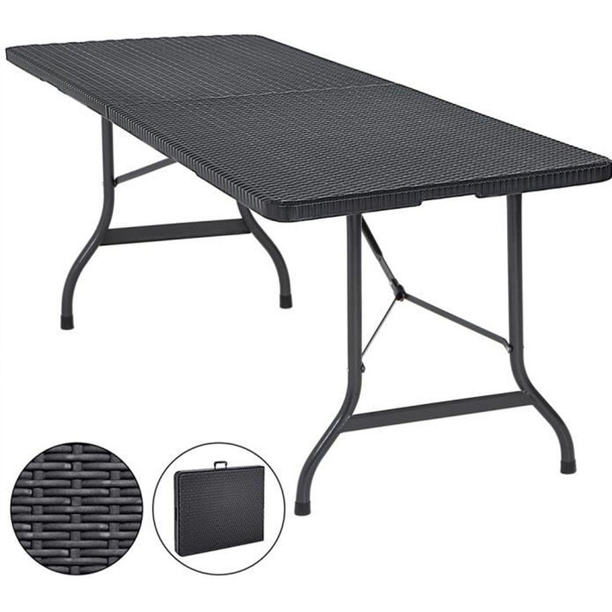 Table de Jardin Pliable Plastique polyrotin Noir 180cm fête ...