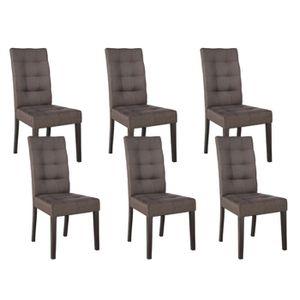 Eden - Lot 6 Chaises Taupe - Achat / Vente chaise Marron ...
