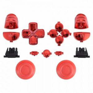 MANETTE JEUX VIDÉO Kit Boutons Custom pour Manette PS4 - Rouge Chrome