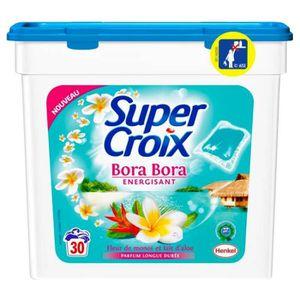 LESSIVE Super Croix 30 Dosettes Bora Bora Energisant Fleur