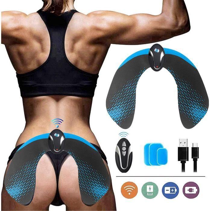 Hips Trainer,Appareil Musculation Fessier,6 Modes de Simulation, 10 Niveaux D'intensité Chargement USB Télécommande Sans Fil