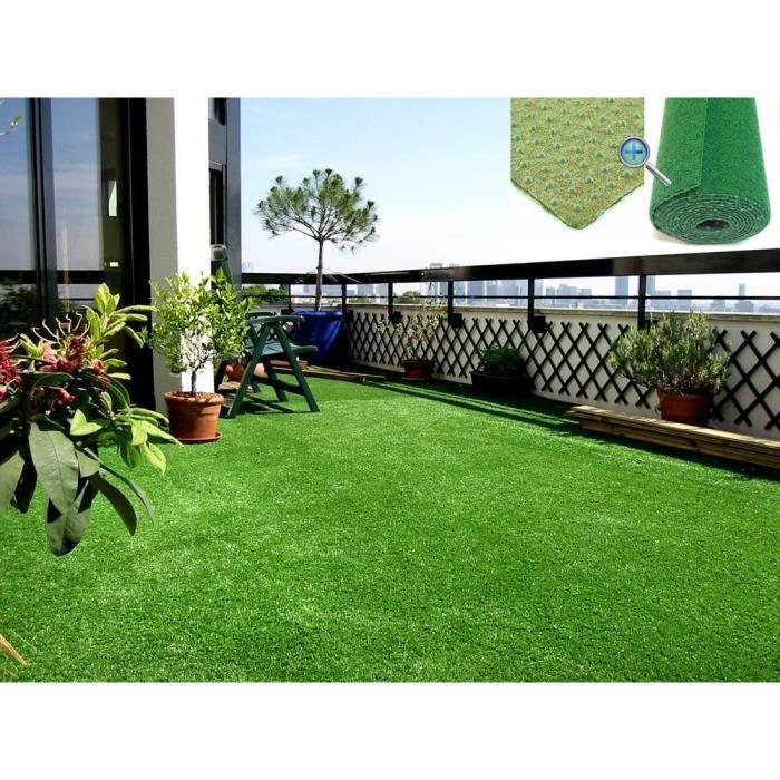 Moquette dext/érieur Jardin Beige 1,33m x 4,00m Tapis Type Gazon Synth/étique au m/ètre Balcon Terrasse Tapis Gazon Artificiel GREEN avec Picots de Drainage etc