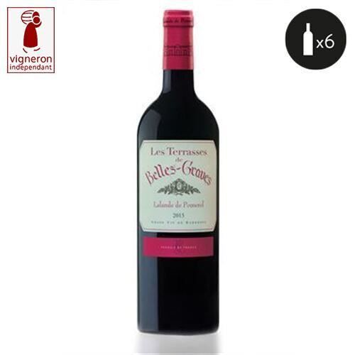 6 bouteilles - Vin rouge - Tranquille - CHATEAU BELLES-GRAVES LES TERRASSES DE BELLES-GRAVES Lalande-de-Pomerol Rouge 2015 6x75cl