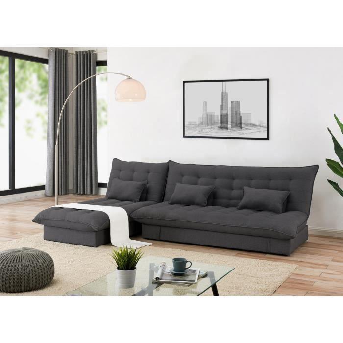 Canapé d'angle convertible et modulable en tissu gris foncé