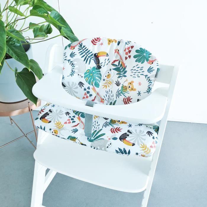 HAUCK - Coussin en revêtement plastifié pour chaise haute bébé, sur mesure pour Hauck, coton Oeko-Tex, blanc animaux