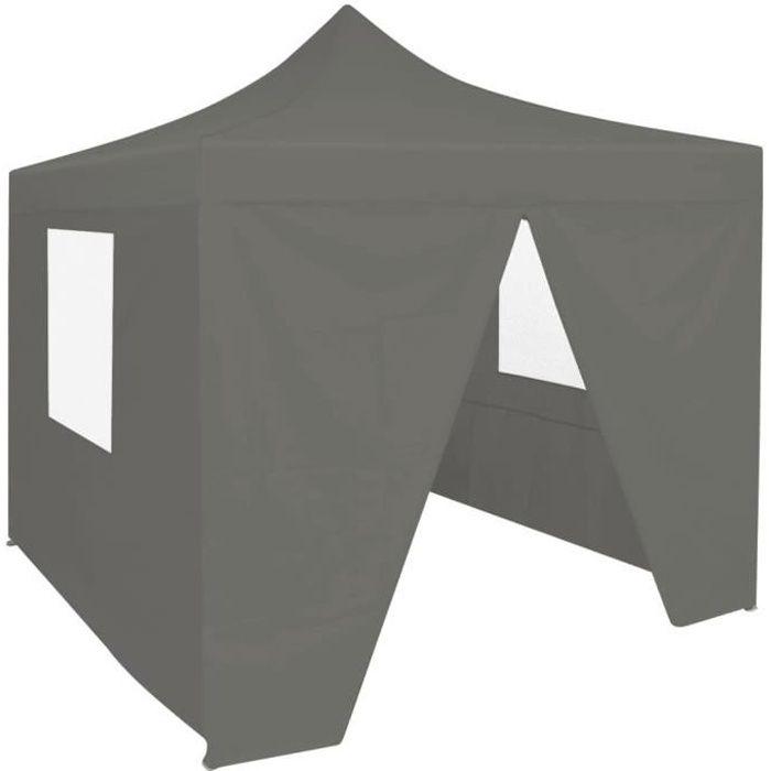 Chic© Tonnelle de jardin Tente de réception - Tonnelle Barnum Barnum avec 4 parois 2x2 m Acier Anthracite #72878