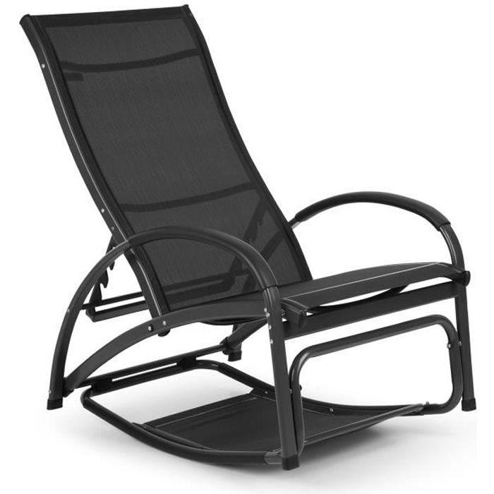 Blumfeldt Beverly Wood Chaise longue de jardin pliable avec dossier réglable - Transat à bascule bain de soleil - aluminium noir