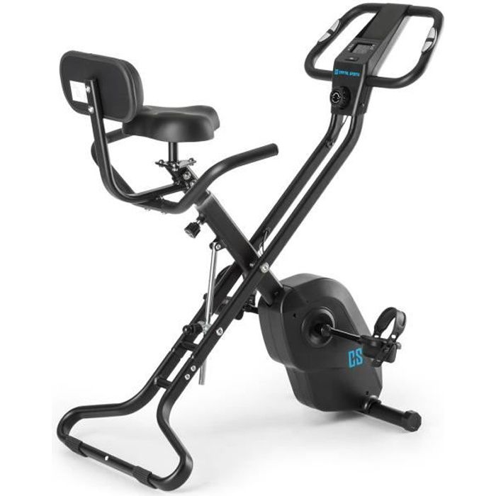 CAPITAL SPORTS Azura X1 Vélo pliable en X dossier accoudoirs pulsomètre - noir