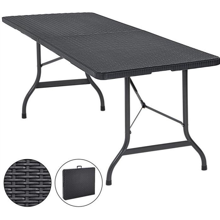 Table de Jardin Pliable Plastique polyrotin Noir 180cm fête Buffet Jardin Camping Party Table Pliante Jardin poignée de Transport
