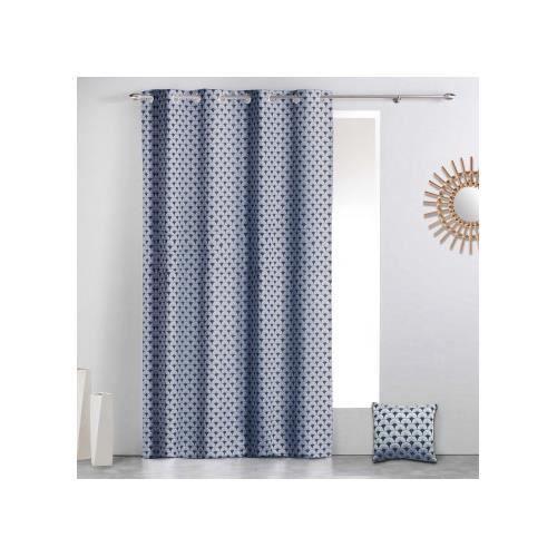 Rideau à motifs géométriques art déco Bleu 140 x 260 cm