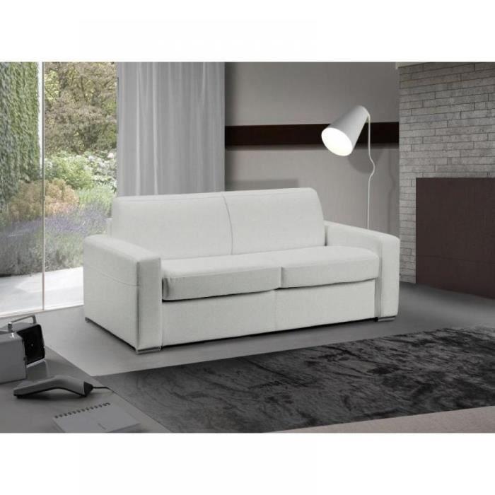 Canapé lit 2-3 places MASTER convertible EXPRESS 120 cm polyuréthane Blanc MATELAS 18 CM INCLUS blanc Cuir Inside75