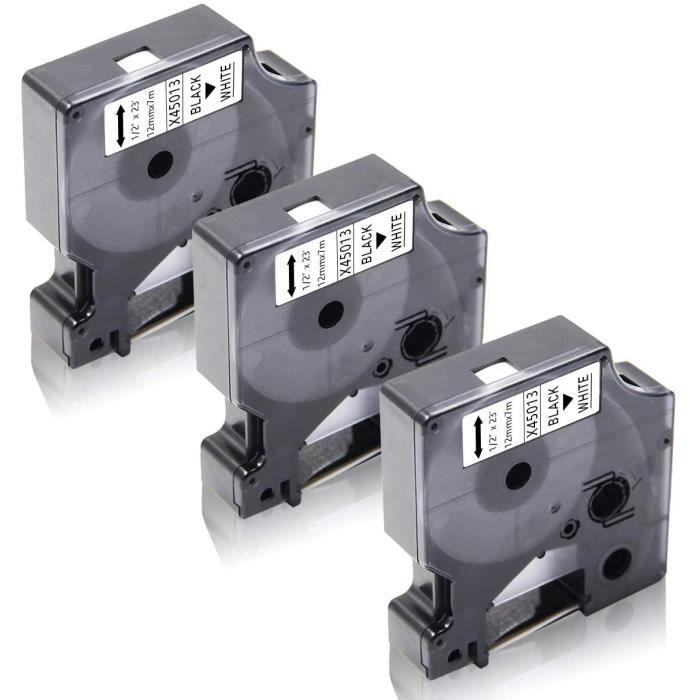 Lot de 3 Dymo 45013 S0720530 Noir sur Blanc Ruban Cassette Compatible pour Dymo LabelManager 160 220P 280 PnP 420P 500TS