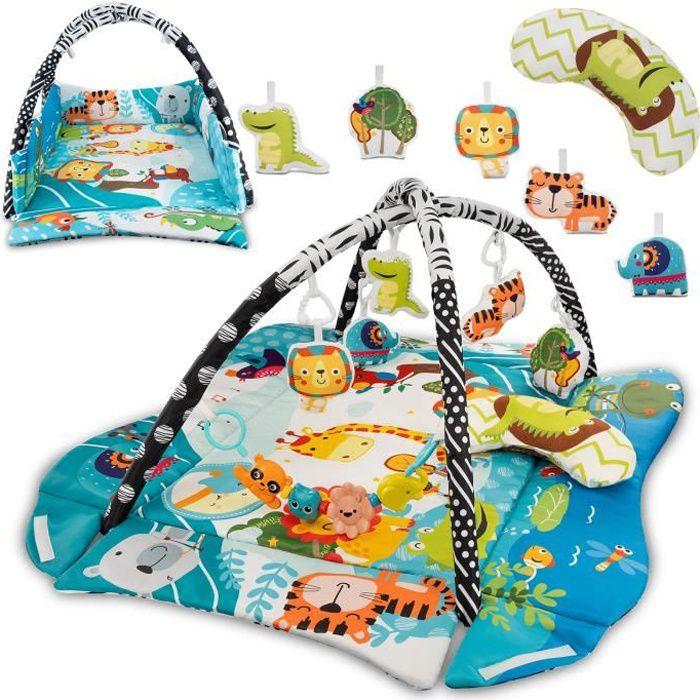 LIONELO Tapis d'éveil bébé Anika aire de jeu avec accessoires et jouets Multicolor