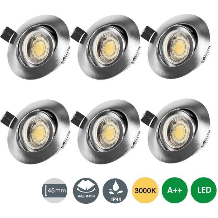 NetBoat LED Spots Encastrables Orientable 7W IP44 3 luminosité Dimmable Blanc Chaud 3000K pour Hôtel, Salon, Chambre, Pack de 6