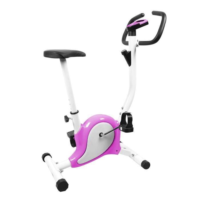 Vélo Cardio LCD Vélo d'appartement Magnétique Hauteur Reglable Charger 100kg - Violet