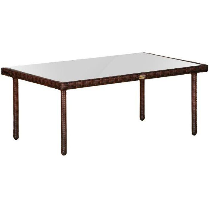 Table basse de jardin plateau verre trempé 5 mm résine tressée imitation rotin chocolat 90x50x35cm Marron