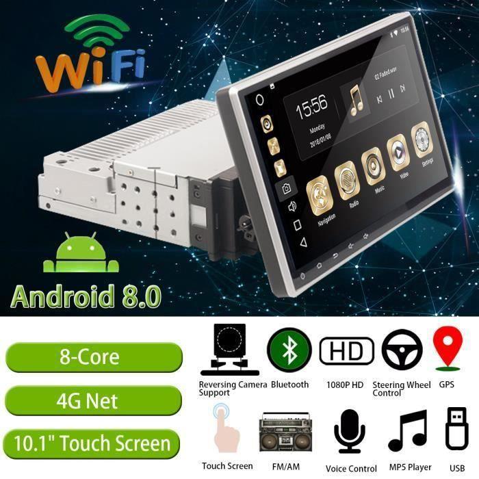 Ranipobo 10.1 Pouces Autoradio Stéréo Android 8.0 Gps Navigation4 Core Dab Wifi bluetooth Mp5 Écran Tactile Voiture